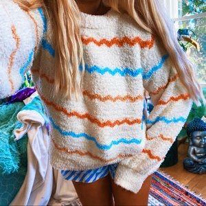 Ultra Plush Pastel Rainbow ZigZag Soft Sweater